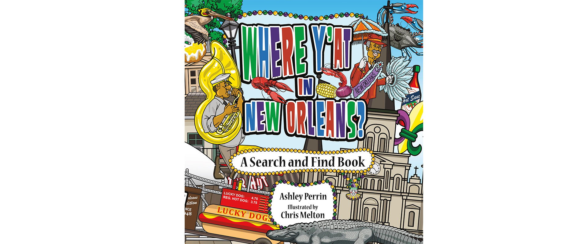 "The cover of ""Where Y'At in New Orleans? which is a search and find book"